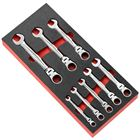 Immagine di Modulo in spugna da 8 chiavi combinate a cricchetto articolate in pollici